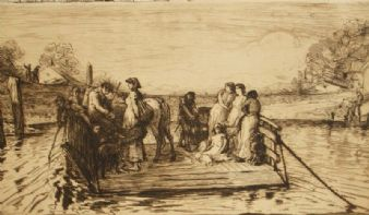 Robert W. Macbeth sepia etching; The Ferry 1880